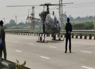 IAF helicopter makes emergency landing on expressway in Haryana