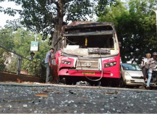 Govt Buses on Accident Spree, AMTS Bus Rams into Tree