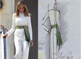 First Lady Melania Incorporates a Hint of Indian Touch Into Her Attire