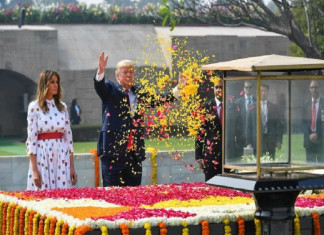 US President Trump and First Lady Melania Pay Homeage to Mahatma Gandhi at Rajghat