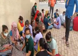 COVID-19 warriors on strike again at SVP Hospital over pay cut, second such incident in three days