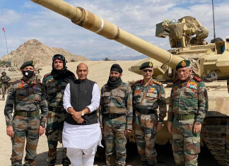 Defence minister Rajnath Singh arrives in Leh to review ground situation