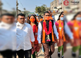 BJP candidates wear 'kamalchaap' mask to woo voters in Ahmedabad
