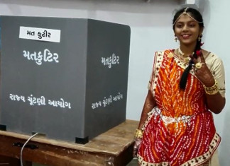 Gujarat Civic Elections: Woman who will embrace the life of a Jain monk casts vote